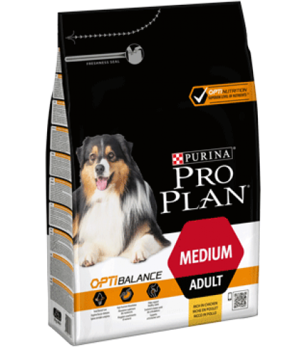 PURINA® PRO PLAN® Medium Adult with OPTIBALANCE Rich in chicken Side